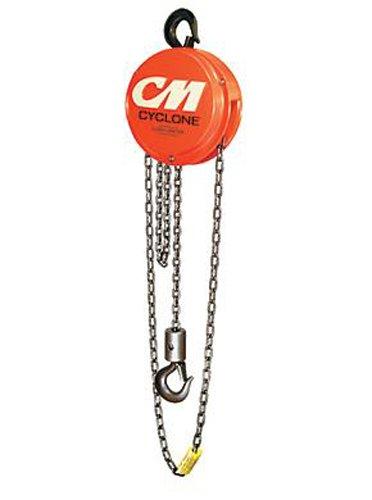 Columbus McKinnon 4624 Cyclone Hand Chain Hoist with Hook, 1 ton Capacity, 10' Lift Height (Standard Manual 10' Lift)