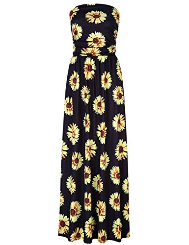 Leadingstar Women's Strapless Flower Beach Party Maxi Dress (Black Daisy, L)