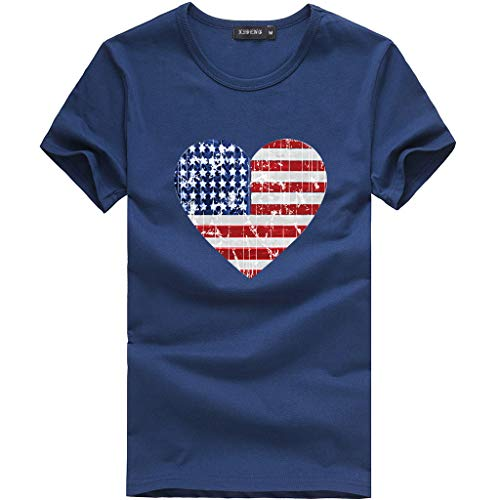 (2019 Fashion Women's Loose Love American Flag Short-Sleeved Printed T-Shirt Top Dark Blue)