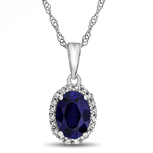 Finejewelers 10k White Gold 7x5mm Oval Created Blue Sapphire White Topaz Accent Stones Halo Pendant Necklace