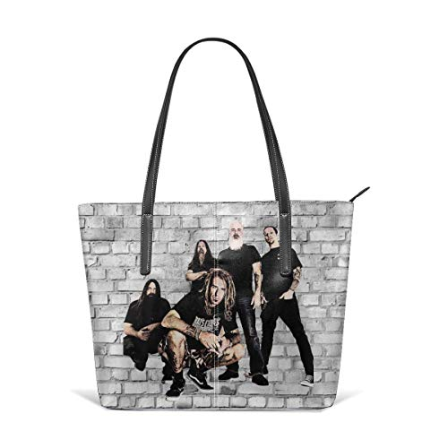 Trisharosew Womans Lamb of God Music Band Handbag Tote Bag Portable Single Shoulder Bag Leather Crossbody Bags Zipper Bag Gift