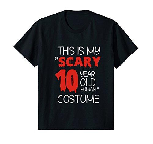 Kids 'Scary 10 Year old Human' Halloween Costume T-shirt 12 Black