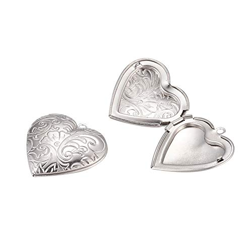 PH PandaHall 10pcs Stainless Steel Locket Pendants Heart Photo Frame Charms Necklaces Bracelets Making Memorial Gift for Women - Frame Locket Heart Necklace