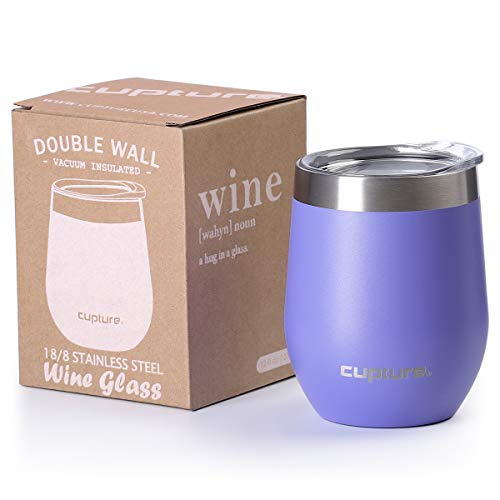 Cupture Stemless Wine Glasses 12 oz Vacuum Insulated Tumbler with Lids - 18|8 Stainless Steel (Ultra Violet)