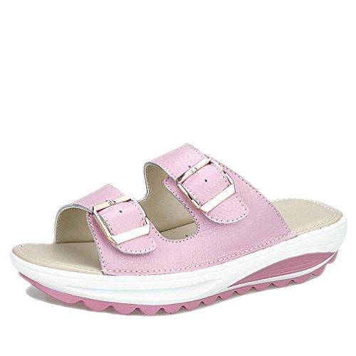 Lumino Casual Femmes Sandales En Cuir Véritable D'été Flats Chaussures Plate-forme Cales Femme Diapositives Plage Tongs Pink