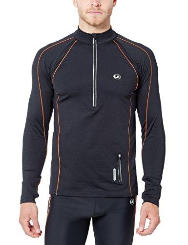 Ultrasport Herren Jimi windabweisendes Angerautes Fleece Laufshirt mit Reflektoren und Quick Dry Funktion, Schwarz/Neon Orange, M, 11026