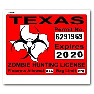 Texas tx zombie hunting license permit red for Fishing license in texas
