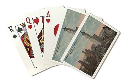 New York, NY - Woolworth Building and City Hall Park (Playing Card Deck - 52 Card Poker Size with Jokers) ()