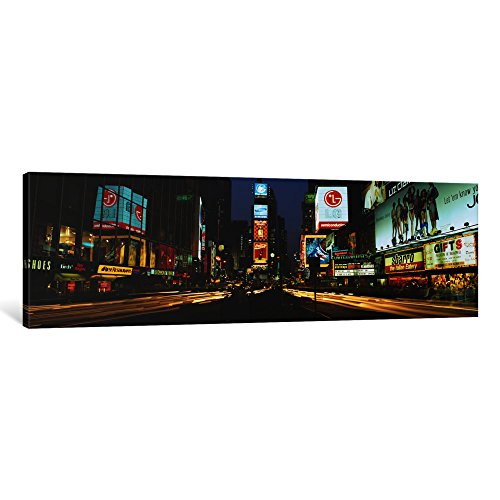 iCanvasART 1 Piece Shopping Malls in a City, Times Square, Manhattan, New York City, New York State, USA Canvas Print by Panoramic Images, 36