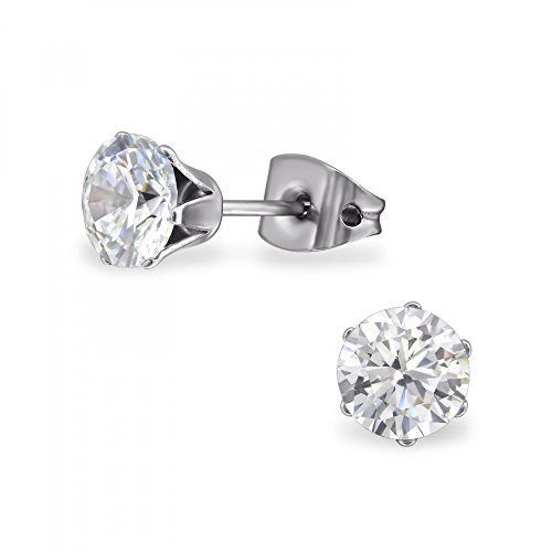 nia 6mm Round Stud Earrings with Cubic Zirconia (Round Titanium Earrings)