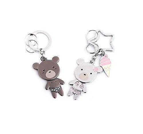 (Dandingding Couple Rhinestone Inlaid Bikini Bear Pendant Keychain Birthday Car Key Pendant )