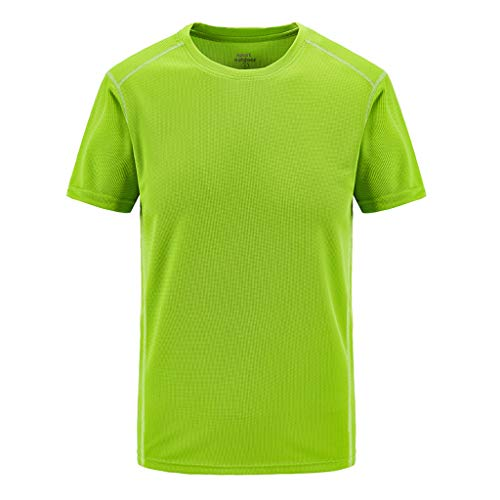 iHPH7 T-Shirt Men Tech Short Sleeve T-Shirt Men Summer Casual Outdoor T-Shirt Plus Size Sport Fast-Dry Breathable Tops XL Green]()