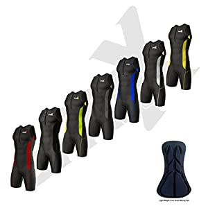 Sparx Sports Men`s Performance Triathlon Tri Race Suit 1 Pocket Skinsuit Trisuit UV Protective Italian Fabric