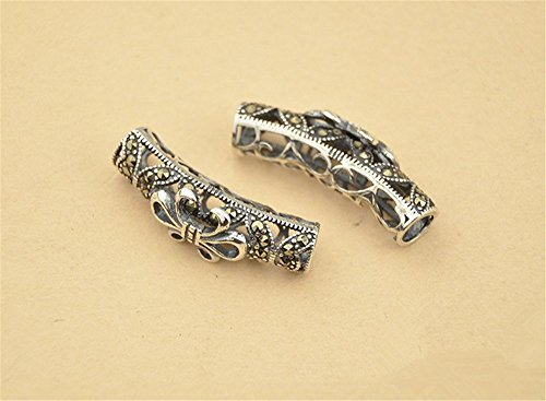 1pc Thai Sterling Silver Rhinestone Filigree Curved Tube Bead / Connector 6mm*26.5mm (T160T)