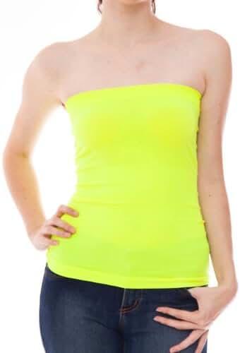 Hollywood Star Fashion Women's Plain Stretch Seamless Strapless Layer Tube Top