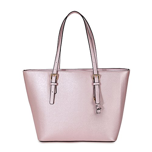 LS Ladies Laptop Tote Bag Large Square Handbags with Adjustable Handle Teacher Shopper Bags Candy Color PU Leather Pink