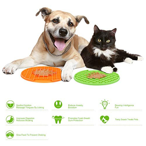 JASGOOD Pet Lick Mat, Slow Feeder/Distraction-Anxiety Relief/Fun Feeder Lick Pad for Dogs/Cats-Eco-Friendly Durable Non-Toxic Preventing Choking Healthy Design Licking Mat with Strong Suction