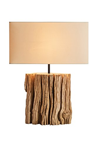 NPD O'THENTIQUE Driftwood Bark Table Lamp | Rustic Salvaged Natural Wood | Brown Shade Perfect as Entry Table Lamp, Sofa Table Lamp for Beach House, Cottage, Cabin, Bedroom, Living Room Decor