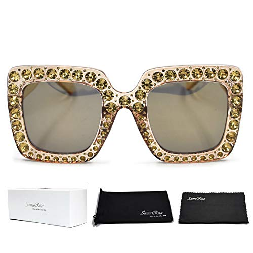 SamuRita Elton Square Diamond Rhinestone Sunglasses Novelty Oversized Celebrity Shades(Champagne Frame/Champagne Gold Mirror Lens) -
