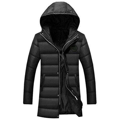 Warm Waterproof Parka Winter Padded Outwear Men's Down Coat Clásico Thicken Warmth Long Jacket Boy Soft Quilted Windproof Schwarz Leisure Hooded zfxx7qAB4