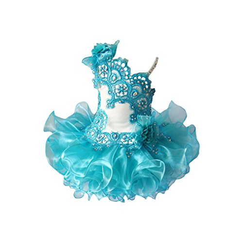 MSJME Infant Girls' Lace Appliques Tutu Gowns Baby Pageant Cupcake Dress 3 US Turquoise