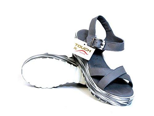 Tamaris Mujeres Sandalias gris, (CLOUD/GRAPHIC) 1-1-28373-26-293