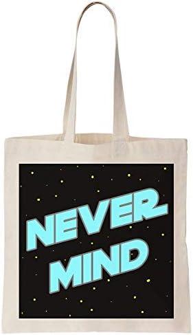 graphke Never Mind Minimal Space Artwork I Don't Care Bright Blue Text Canvas Tote Bag Tragetasche