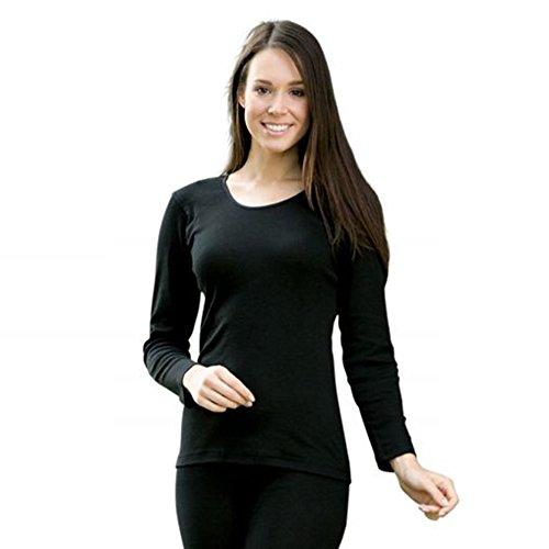 EcoAble Apparel Women's Thermal Shirt for Layering, 70% Organic Merino Wool 30% Silk (46-48 / Large, Black)