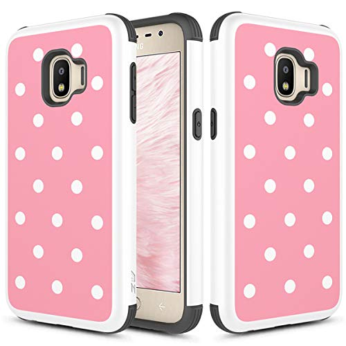 Phonelicious Compatible for Samsung J2 Core Case, J2 (2019), J2 Dash, Galaxy J2 Pure Dual Layer Slim Fit Shockproof Hybrid Rugged Accessory Impact Protective Armor Phone Cover (Polkadot)