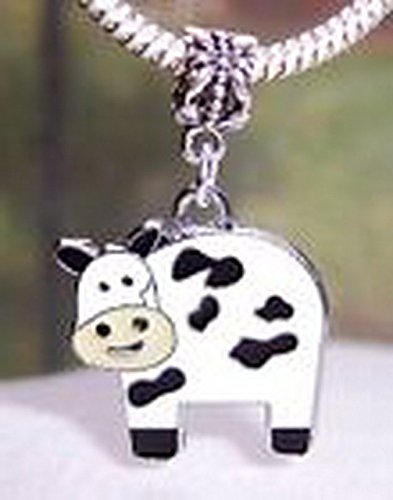 Blazers Jewelry 1985 Cow Black White Tan Enamel Farm Animal Dangle Bead for European Charm Bracelets