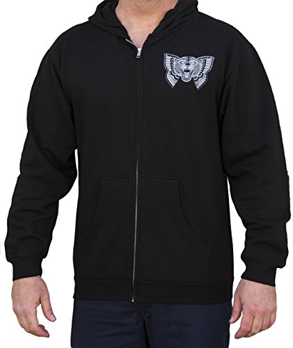 Men's Flying Tiger by Jacob Doney Cat Butterfly Tattoo Art Zip up Black Hoodie -