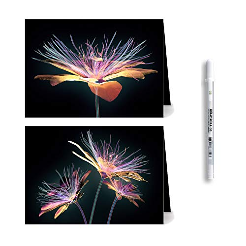 (UniversalForAll 10 All Occasion Black Greeting Cards of 2 Glass Flower Designs, Blank Note Cards with Envelopes (White) and White Gel Pen, 5x7 inches (Pack of 10 Pieces, Folded, Black))