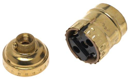 - Leviton 9347-BR Medium Base Brass Shell Incandescent Lampholder, Keyless, Single Circuit, Brass