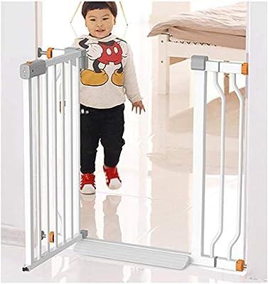 Puerta de seguridad La presión aumentó la seguridad del bebé Puerta, independiente de doble bloqueo ajustable Chimenea Valla extensible Barandilla caminata con cierre automático de puerta interior pue: Amazon.es: Hogar