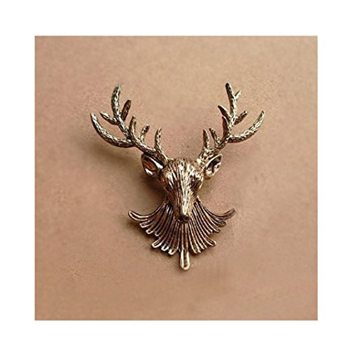 Price comparison product image Iuhan Vintage Fashion Classics Bronze Brooch Metal Reindeer Lapel Pin Brooch