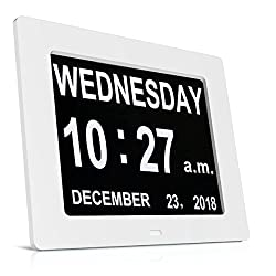 HeQiao Day Clock Dementia Clock Digital Clock Day Date Calendar Clocks for Dementia Sufferers, Alzheimer Clock, Memory Loss Clock Electronic Calendars, Large Digital Wall Clock for Elderly - White
