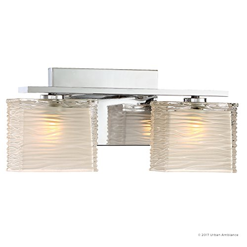 Luxury Modern Bathroom Light, Medium Size: 6.75''H x 15''W, with Style Elements, Polished Chrome Finish and Sandblasted Inner, Clear Wavy Outer Glass, G9 LED Technology, UQL2721 by Urban Ambiance by Urban Ambiance (Image #7)