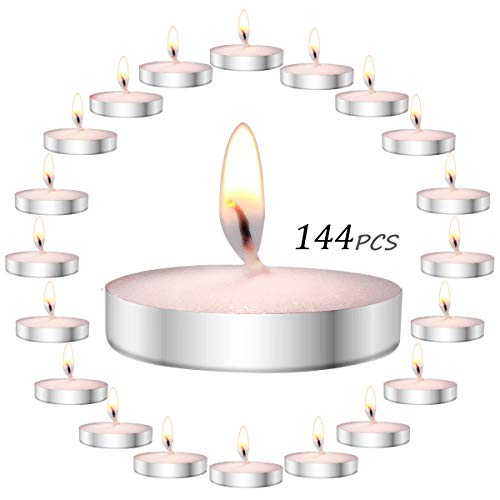 YIH Scented Tea Lights Candles Set 144 pcs 1 Flavors Assortment tealights (12x12-packs) scents Peach。