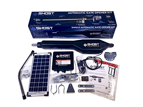 Ghost Controls TSS1XP Heavy-Duty Solar Single Automatic Gate Opener Kit for Swing Gates Up to 20 Feet (ft.) (Swing Door Opener)