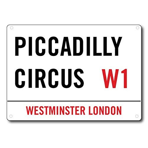 XCVBN CWSY Tin Metal Sign Piccadilly Circus W London Home Decoration Thanksgiving Christmas Wall Art Stickers 8x12 inches (Christmas Circus Piccadilly)