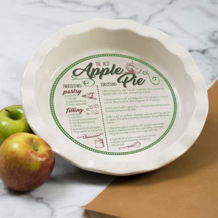 Apple Pie Ceramic Recipe Pie Plate 10