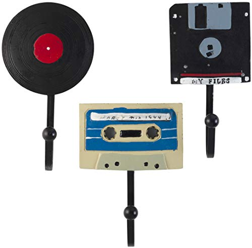 Decorative Vintage Disks - Floppy Disk, Vinyl Record and Stereo Cassette Resin Wall Coat Hooks (Set of 3)
