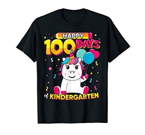 Unicorn Happy 100 Days School Kindergarten Shirt Girls Gift for $<!--$18.99-->