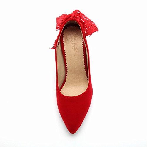 Charm Foot Womens Fashion Lace Bows High Heel Pumps Shoes Red RGAAklf