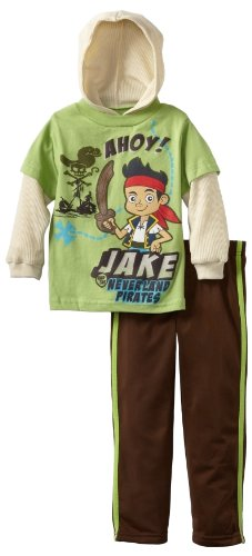 Disney Little Boys' Jake and The Neverland Pirates Ahoy Nylon Pant Set, Green, 3T (Jake And The Neverland Pirate Characters)