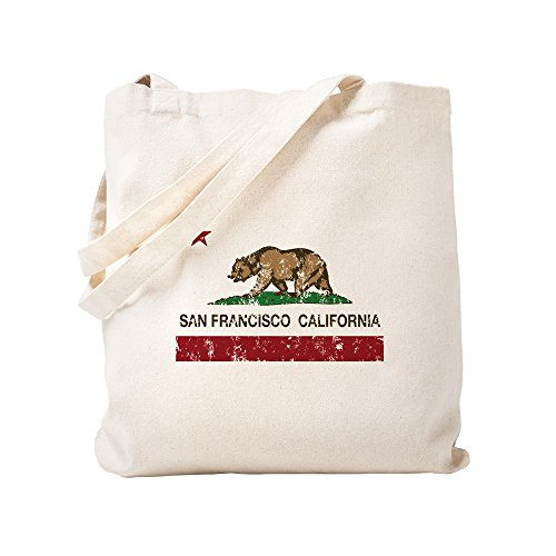 CafePress - California Flag San Francisco Distressed - Natural Canvas Tote Bag, Cloth Shopping Bag
