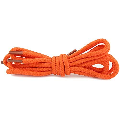 DailyShoes Round Hiking Boot Shoelaces Strong Durable Stylish Shoe Laces (Great for Track & Field Shoes) Orange 54