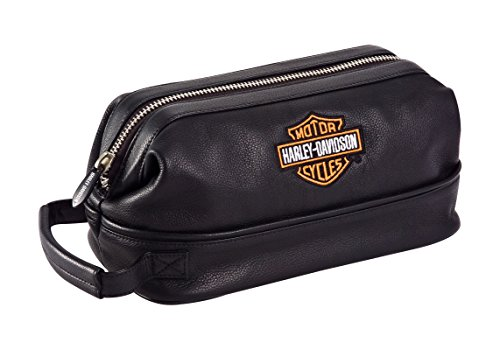 Harley Davidson Leather Toiletry Kit, Black