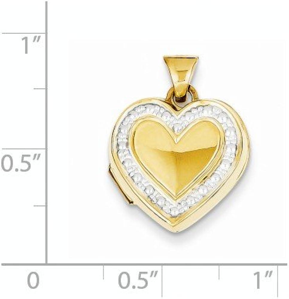 14k with Rhodium Accent Heart Locket