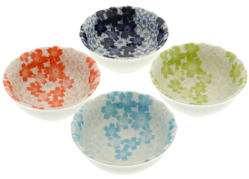 Kotobuki Sauce Bowl, Cherry Blossoms, Multi-Colored, Set of 4 - Cherry Dipping Bowls